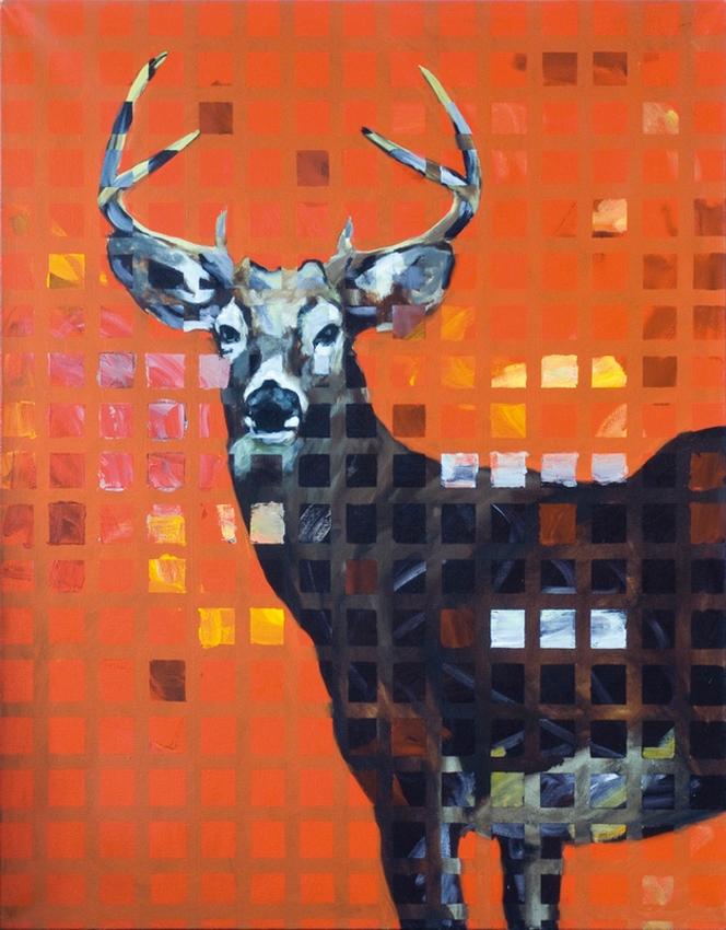 Grand cerf rouge, huile sur toile (146 x 114 cm)