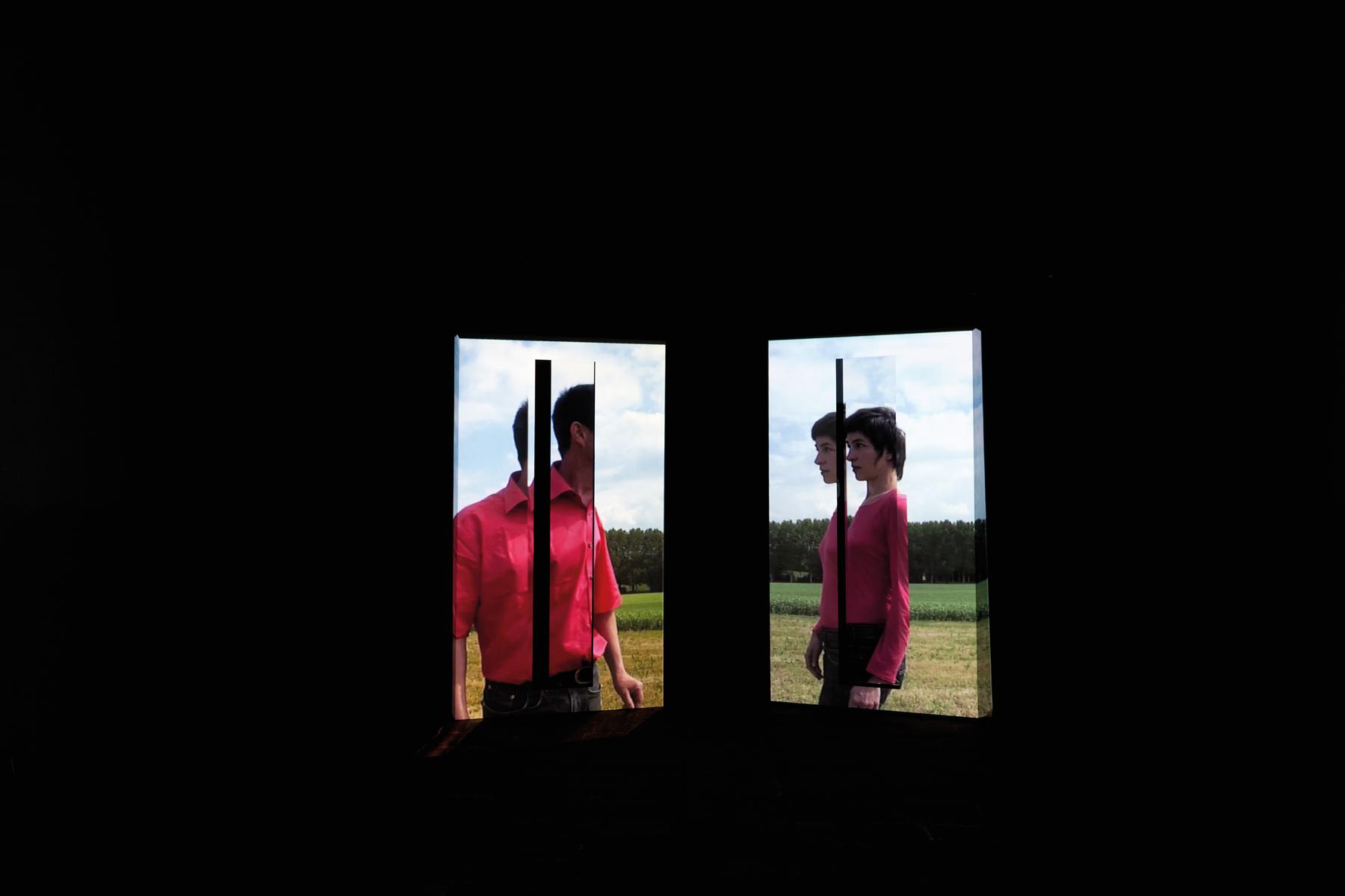 Angle mort, sculpture-vidéo, chapelle Notre-Dame du Guelhouit@(Merland)