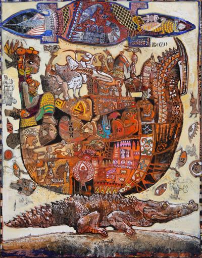 Nef-Bozo ou migration saurienne, (146 X 114 cm)