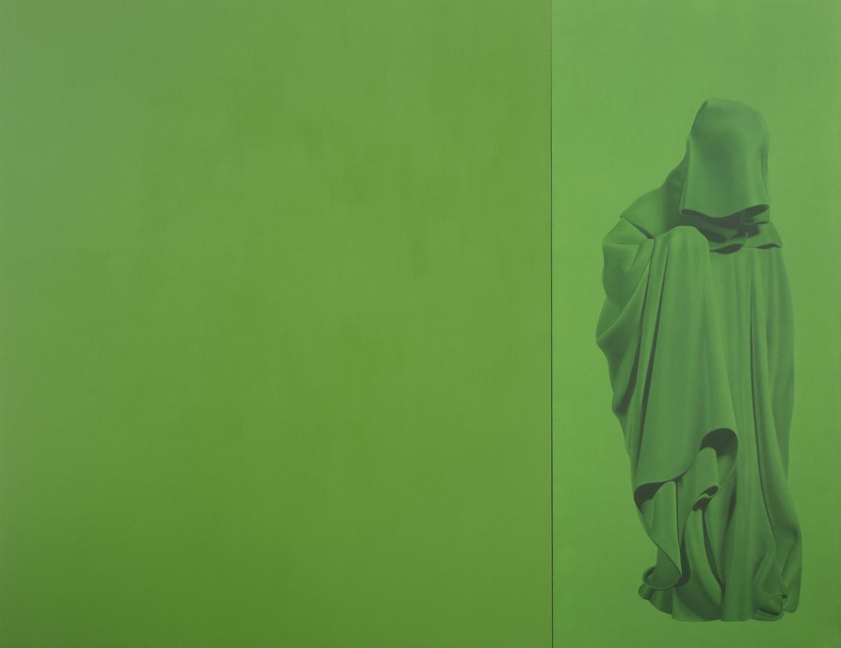 Sans titre n°21 (Mourner vert), huile sur toile, au musée d'Art moderne@et d'Art contemporain de Nice