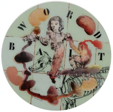 Word Bait, peinture sur l'envers@d'une feuille d'acrylique