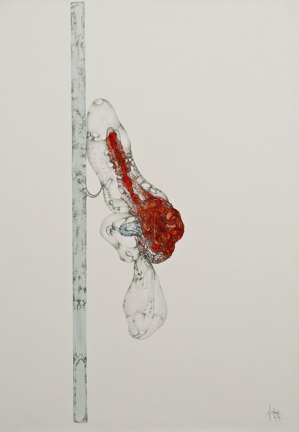 L'agonie, mine de plomb et peinture@(75 x 55 cm)