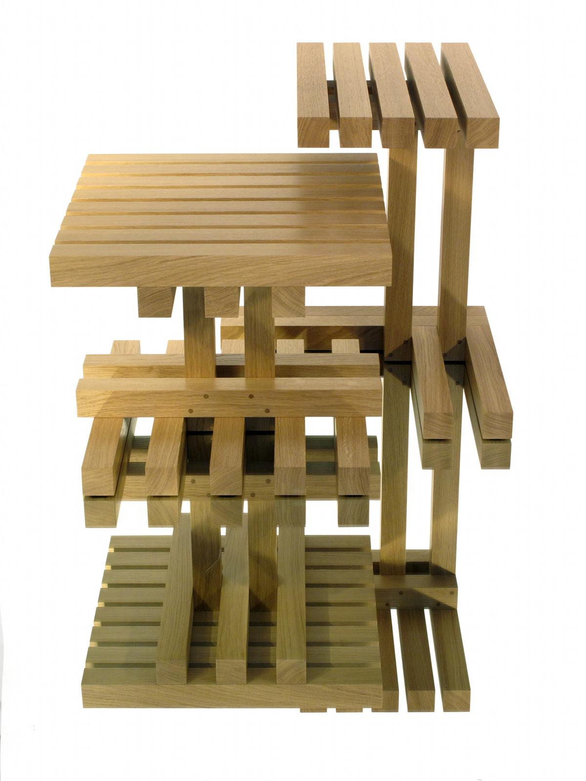 Poser, tables basses double en chêne