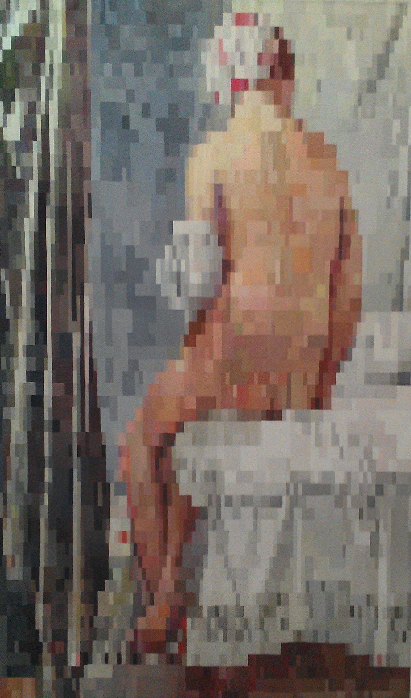 La Baigneuse de Valpinçon (Ingres)@pixélisée, huile sur toile