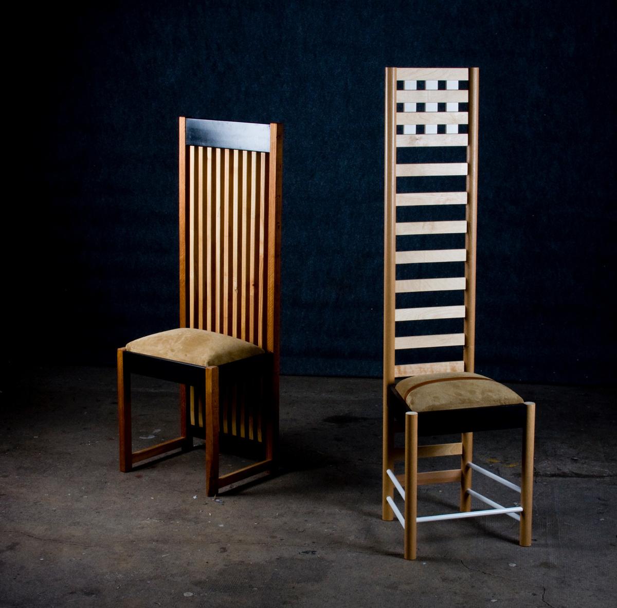 Prototypes inspirés des chaises@de Mackintosh et de Wright, matériaux recyclés