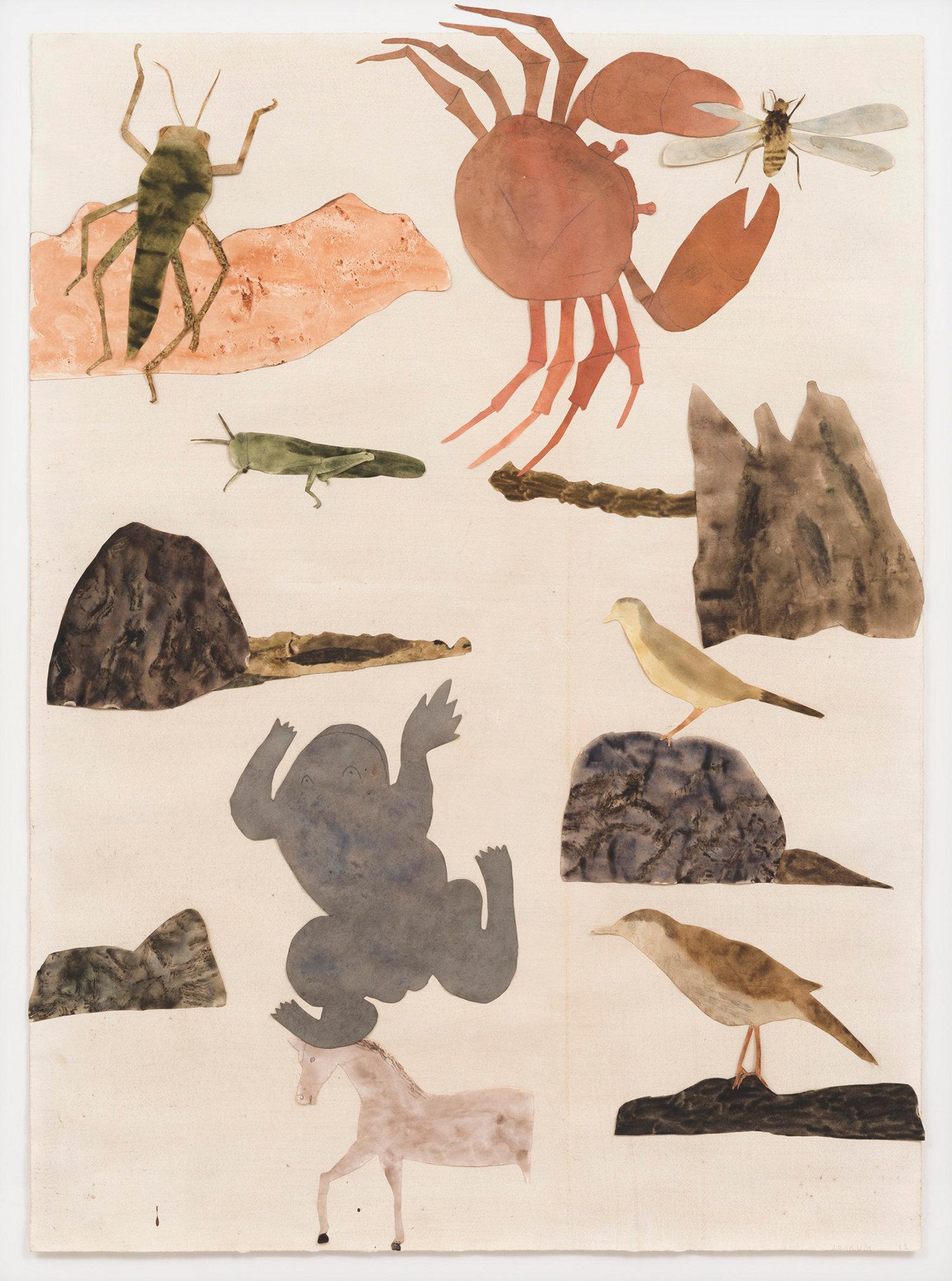Djuren är vårt hopp@(Les Animaux sont notre espoir), collage, aquarelle et graphite sur papier