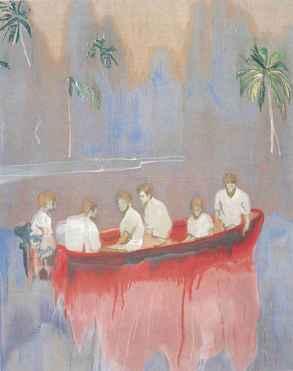 Figures in Red Boat (Imaginary Boys), huile sur toile (250 x 200 cm)