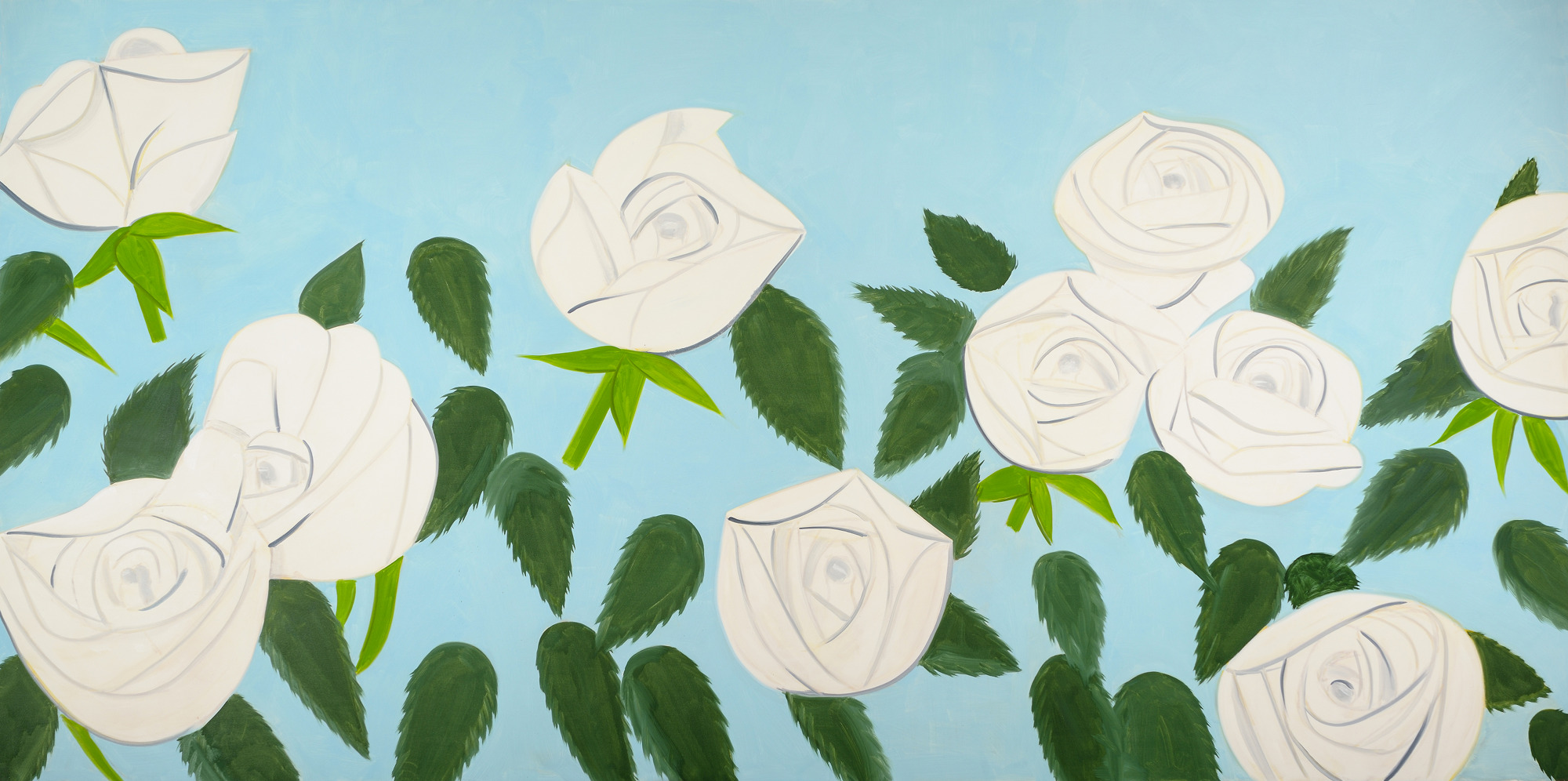 Roses blanches 9, huile sur lin