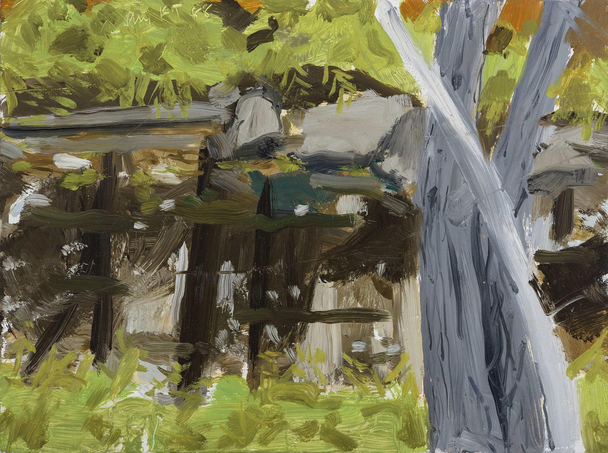 Etude pour Ruisseau noir, huile sur bois