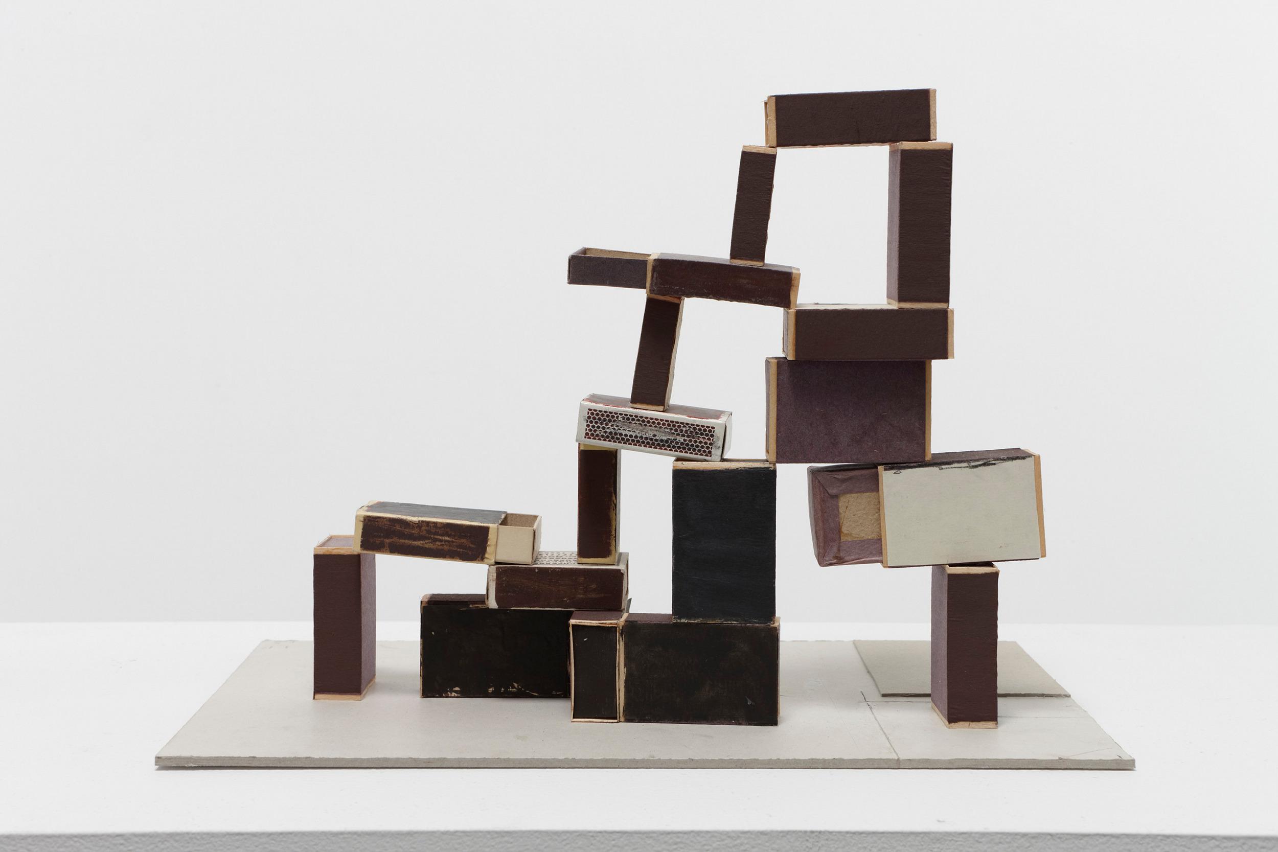 Ladder (Échelle), papier, colle, boîtes d'allumettes, carton, graphite et aquarelle@(23.5 x 58.4)