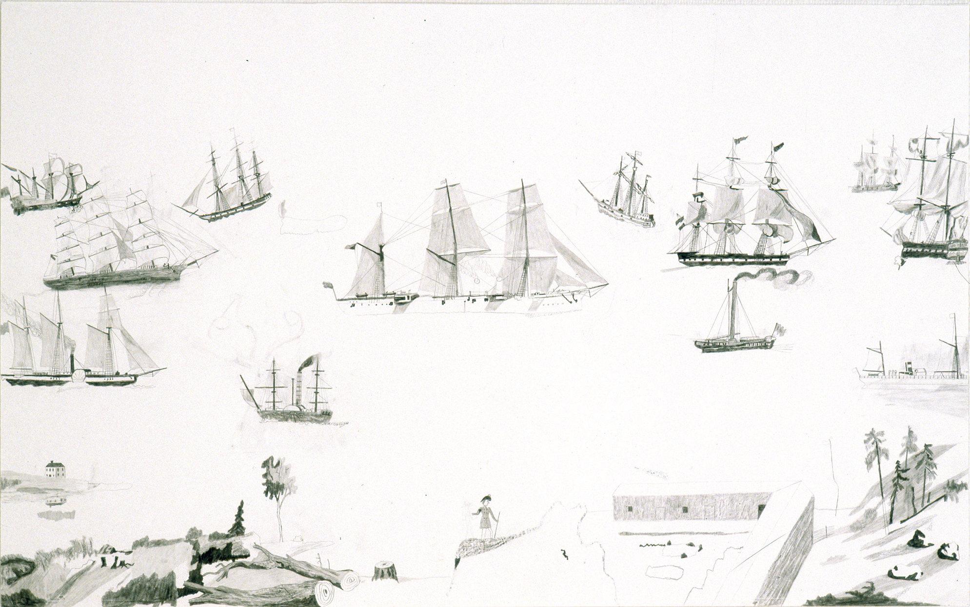 Leaving Here (Sur le départ), graphite sur papier (59.5 x 98.5 cm)