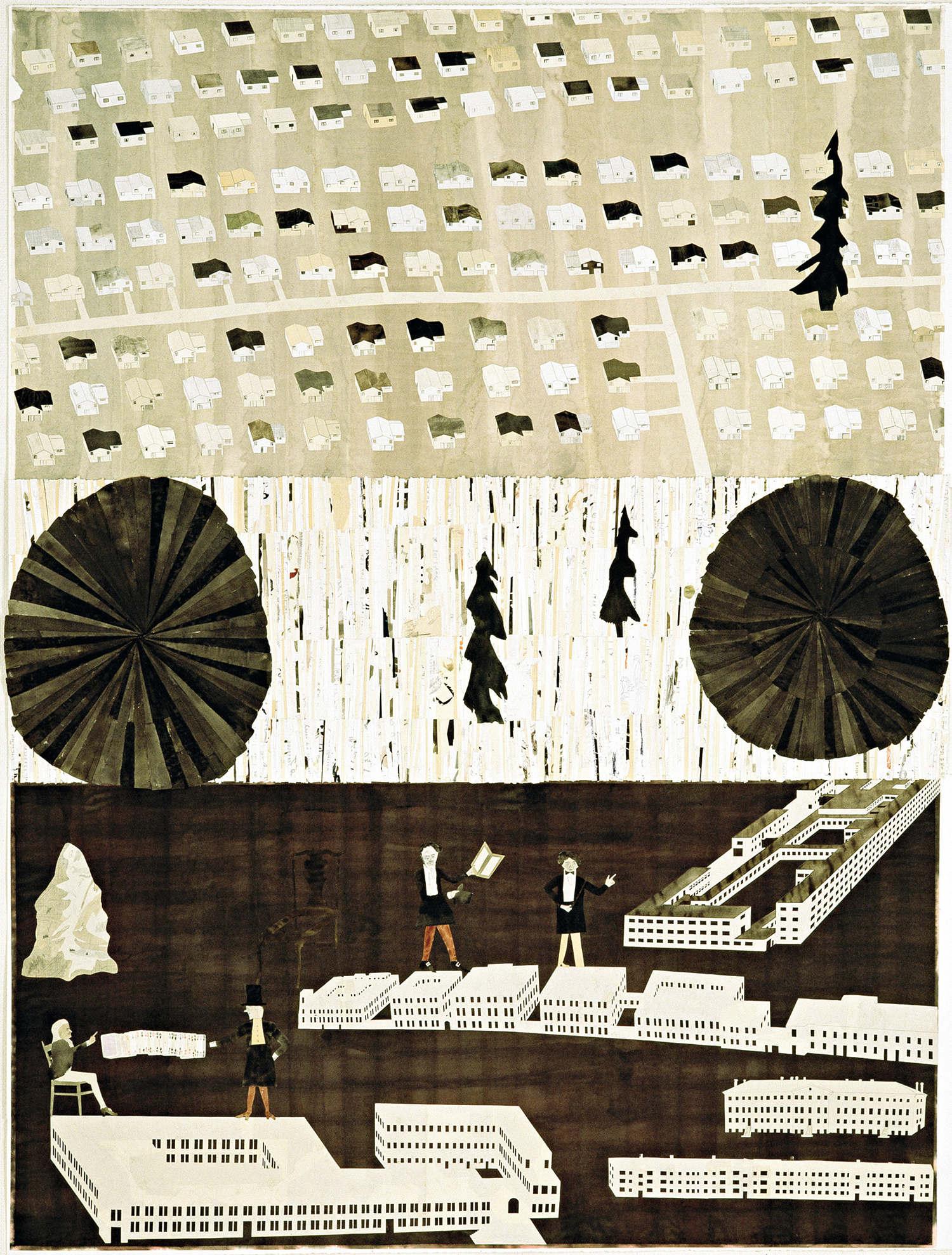 Loppspel (Jeu de puces), collage, aquarelle et graphite sur papier@(184 x 138 cm)