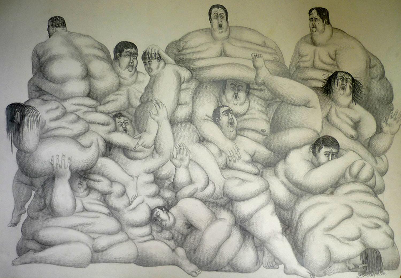 Entassement des corps, mine de plomb sur papier (120 x 90 cm)