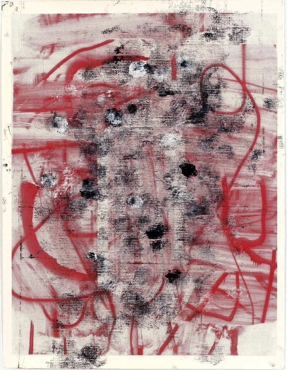 Sans titre, encre pour sérigraphie et peinture@à l'émail sur papier (182.88 x 140.34 cm)