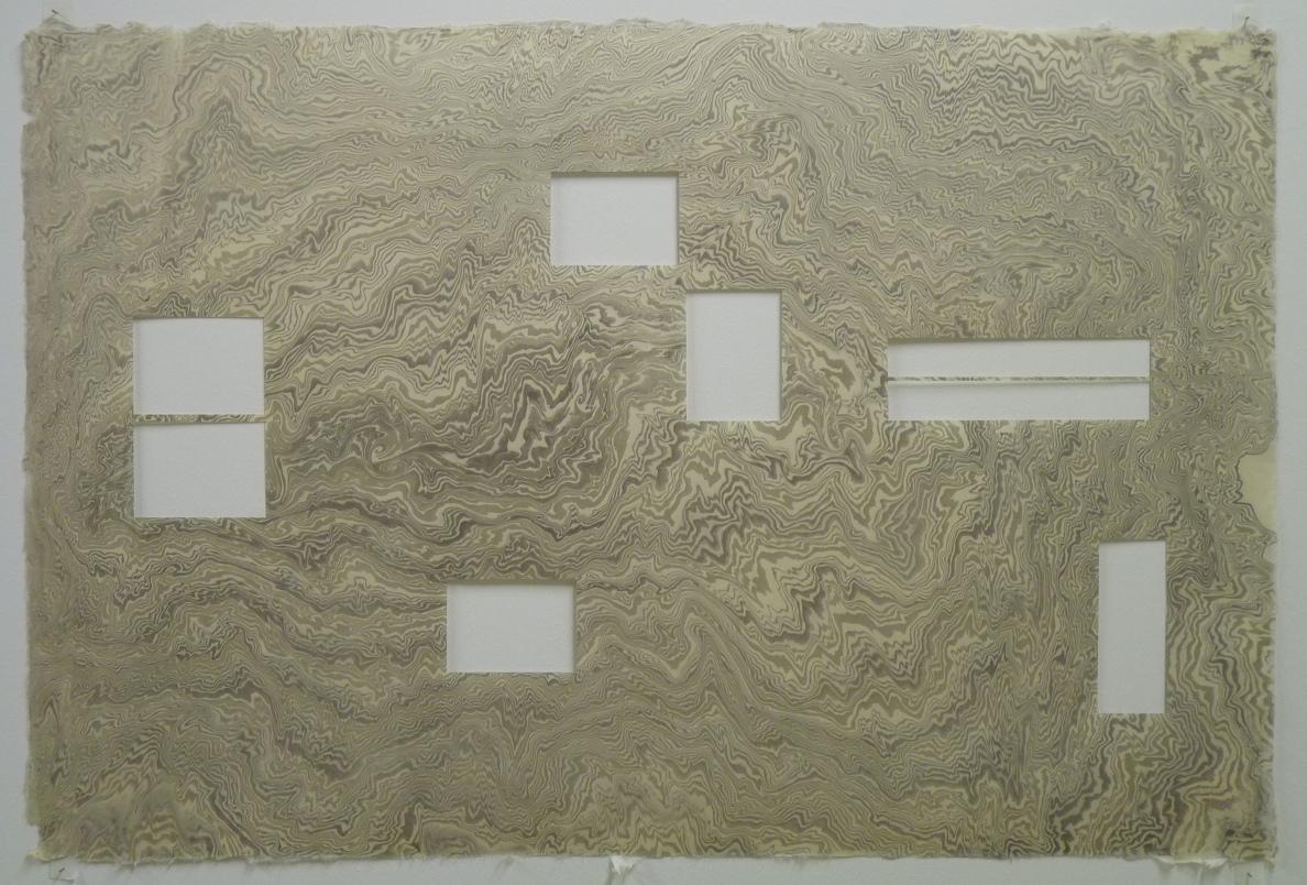 Un cours d'eau paresseux@à travers les prairies, papier suminagashi